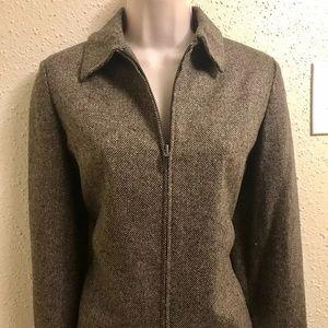 Eddie Bauer Brown Tweed Wool Silk Jacket Sz XS Zip